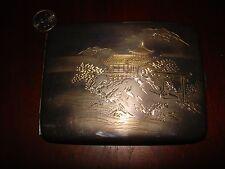 Amazing Unique Japanese Sterling Silver Cigarette Case.950 Hand Engraved (114gr)