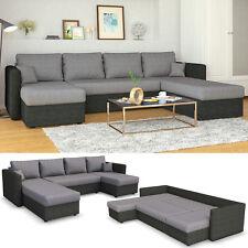 VICCO XXL Ecksofa mit Schlaffunktion Grau - Wohnlandschaft Schlafsofa Sofa Couch