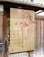 Noren Japanese hanging curtain Kyoto hand-painted weeping cherry tree Tessai