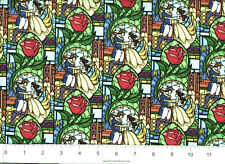 DISNEY BEAUTY AND THE BEAST STAINED GLASS FABRIC C66135