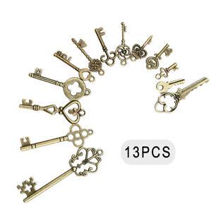 13x Antique Vintage Old Brass Skeleton Keys Lot Cabinet Barrel Lock Retro