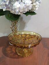 Vintage Amber Depression  Glass  footed  pedestal divided dish