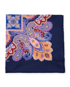 $215 NWT STEFANO RICCI Navy paisley hand rolled silk pocket square handkerchief