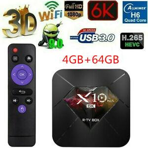 R-TV BOX X10 PLUS Android9.0 Smart TV Box Allwinner H6 Media 4+64GB WiFi 6K R0Y5