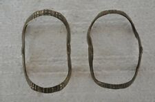 2 Pc Old Brass Unique Shape Solid Handcrafted Tribal Women Anklet , Rich Patina