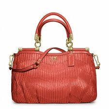 NWT Coach Madison Carrie Gathered Leather Satchel Bag 21281 Brass/Orange Coral