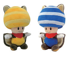 NEW Set of 2 Squirrel Yellow Toad Squirrel Blue Toad Mario Toy Plush Doll USA