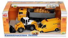 NEW MINI CONSTRUCTION BUILDING SITE TOYS SET TRUCK JCB VAN ( THREE PIECE )