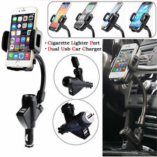 iPhone Samsung 2 Dual USB Port Cigarette Lighter Socket Car Charger Mount Holder