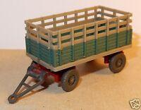 WIKING HO 1/87 ANHÄNGER REMORQUE AGRICOLE FARM TRAILER verte et beige no box