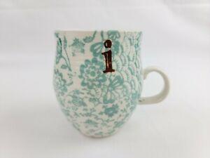 "Anthropologie Homegrown Letter "" i "" Monogram Teal Green Floral Coffee Cup Mug"