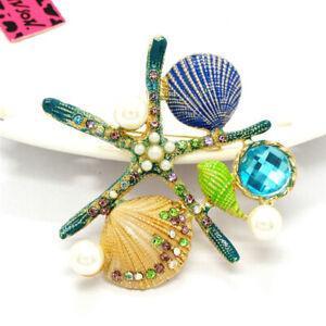 Betsey Johnson Cute Blue Enamel Starfish Shell Crystal Charm Brooch Pin Gift