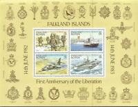 Falklands War 1st Ann. Liberation Miniature Stamp Sheet 1983 Mint