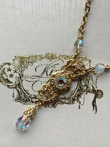 Vintage Kirks Folly Boxed Gold Tone Chain Necklace, Stars, AB Rhinestone.
