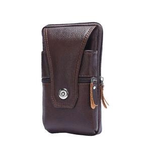 Men Genuine Leather Fanny Waist Bag Business Mobile Phone Purse Belt Bum Pouch