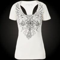 AFFLICTION Women T-Shirt FORBIDDEN Cross Wings RHINESTONES Biker Sinful $58