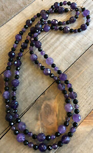 """JAY KING Black Agate & Amethyst 43"""" Necklace, Sterling Silver"""