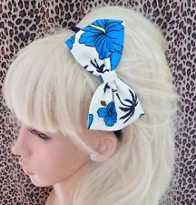 "IVORY BLUE ORCHID TROPICAL FLOWER PRINT FABRIC 5"" SIDE BOW ALICE HAIR HEAD BAND"
