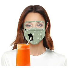 Adult Reusable Drinking Face Mask with Hole for Straw and Detachable Eyes Shield