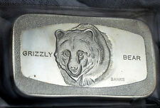WESTERN MINT Johnson Matthey GRIZZLY BEAR 1 OZ .999 SILVER ART BAR - ULTRA RARE