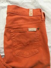 7 Seven For All Mankind Gwenevere Jeans Size 26 Orange Skinny Ankle Stretch