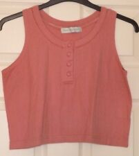 """Lady's Salmon Pink Poly-cotton Short Vest Top 20 Textured fabric One Size B42"""""""