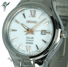 Ladies SEIKO SOLAR TITANIUM SNOW WHITE FACE With TITANIUM BRACELET SUT271P1