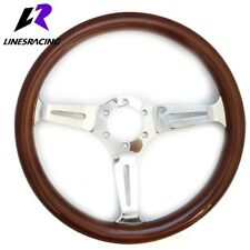13.8″ 6 Hole WOODEN STYLE GRAIN CHROME 3-SPOKE STEERING WHEEL w/ HORN For Ford