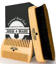 Peine Y Cepillo Para Barba Bigotes De Madera De Bambú Caja Regalo Grow A Beard