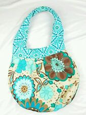 handmade shoulder bad tote reversable blue flowers