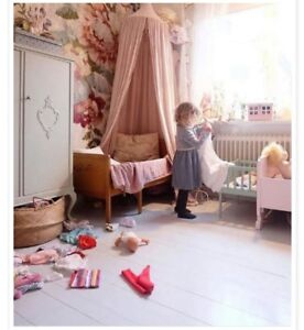☆With 2 Stars☆ Kids Girls Bed Pink Canopy Cotton Tent Nursery Bedroom Playhouse