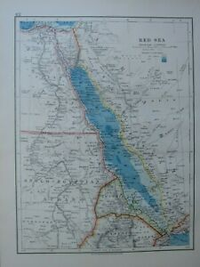 1913 MAP RED SEA ANGLO EGYPTIAN SUDAN EGYPT CAIRO ARABIA PENINSULA OF SINAI