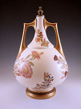 "c.1884 ANTIQUE ROYAL WORCESTER 11"" HANDLED VASE OR LAMP BASE, HAND PAINTED #1024"