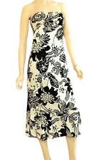 CHESLEY SZ S (8-10) WOMENS White & Black Floral Tie Back Strapless Maxi Dress