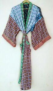 Indian Vintage Maxi Sari Patola Patch Silk Beach Sleepwear Lingerie Kimono Robe