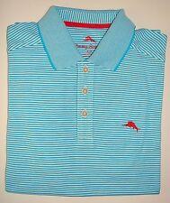 Tommy Bahama Emfielder Polo Shirt S Spanish Turquoise Blue Stripe NWT $98