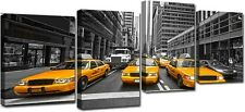 Quadro Moderno Stampa su Tela 4 pezzi Cm 140x75 Arredo Casa Design Taxi New York