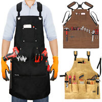 SAVWAY 16oz Waxed Canvas Tool Apron  Adjustable Workshop Apron With Tool Pockets