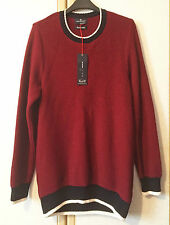 M&S Blue Harbour Mens Burgundy Red Pure Cotton Jumper Size S BNWT