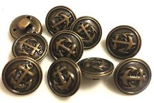 Metall  Knopf Knöpfe 10 Stück  Anker eisen gebürstet    11,5 mm groß   #413#