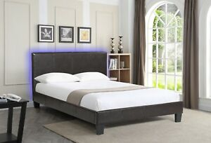 Upholstered Brown Queen Bed with Headboard LED Lights nightlight effect