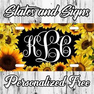 Monogram Sunflower daisy Custom Monogram License Plate Auto Car Tag Vanity front