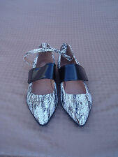 New Jeffrey Campbell Black White Leather Women Flat Shoes 8,5 M