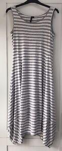 Yong Kim Curved Panelled Hem Modal Sleeveless Dress Grey Stripe Size 12 New