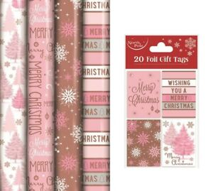 Christmas Gift Wrapping Paper Rose Gold Blush Pink 4 x 8M Rolls With Gift Tags