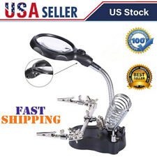 LED Helping Hand Clamp 3.5X Magnifying Glass Len Magnifier Soldering Iron Stand