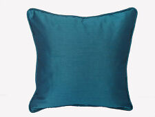 """Blue Crayola Solid Square Throw Cushion Cover 20x20"""" Cord piping Polyester silk"""
