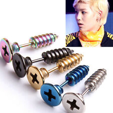 1 Pair Screw Shape Surgical Steel Fake Cheater Ear Plug Gauge Piercing Jewelry