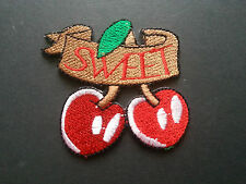 HEAVY METAL PUNK ROCK MUSIC SEW / IRON ON PATCH:- RED CHERRIES (c) SWEET