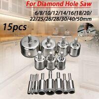 15pcs 6mm-50mm Diamond Coated Drill Bit Set Glass Ceramic Hole Saw Drilling Bits